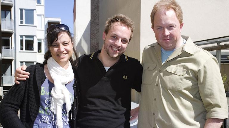 Petra Mede, Robin Paulsson, Anders Jansson. Foto: Kristin Montagu-Evans/Sveriges Radio.