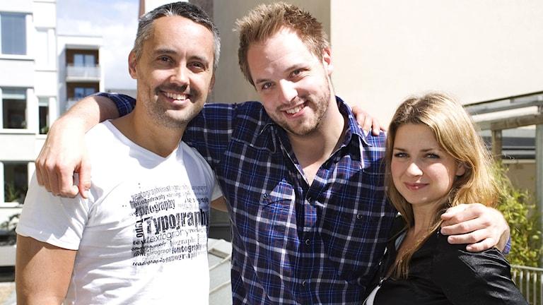 Hasse Brontén, Robin Paulsson, Claudia Galli. Foto: Kristin Montagu-Evans/Sveriges Radio.