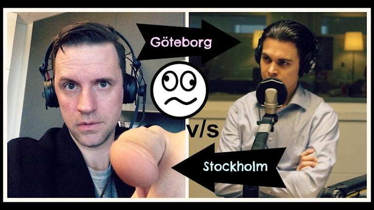 Stefan Odelberg battlar med Messiah Hallberg om vilken stad som är bäst. Stockholm eller Göteborg. Foto: Ronnie Ritterland / Sveriges Radio