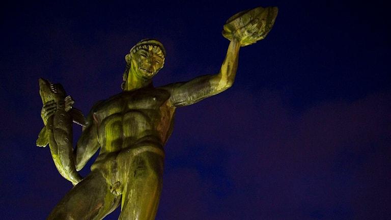 Carl Milles skulptur Poseidon är naken på Avenyn i Göteborg FOTO: Snezana Vucetic Bohm