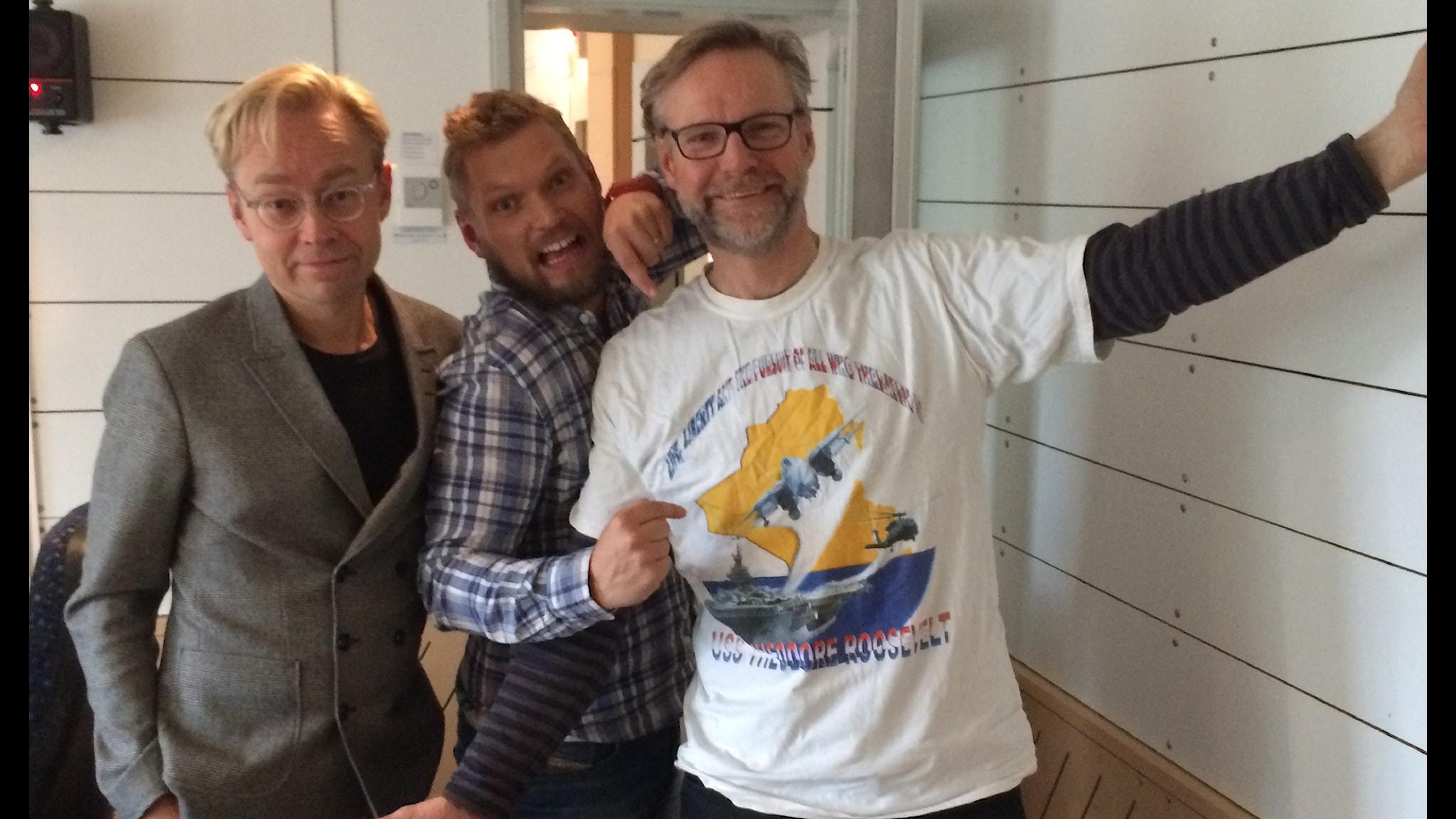 Fredrik Furtenbach, Henrik Torehammar och Tomas Ramberg. Foto: SR.