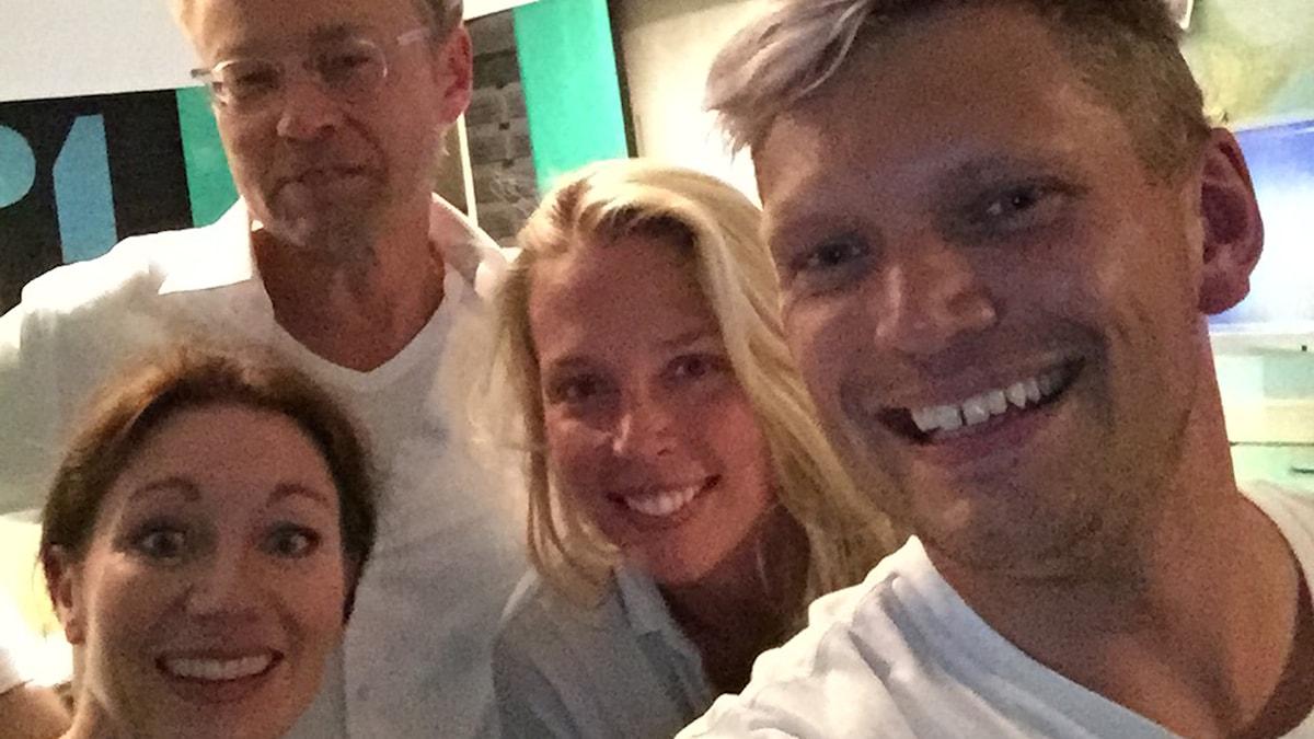 Katarina Barrling, Fredrik Furtenbach, Annie Reuterskiöld & Henrik Torehammar. Foto: Henrik Torehammar/SR.