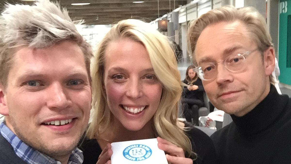Henrik Torehammar, Annie Reuterskiöld och Fredrik Furtenbach. Foto: Henrik Torehammar/SR.