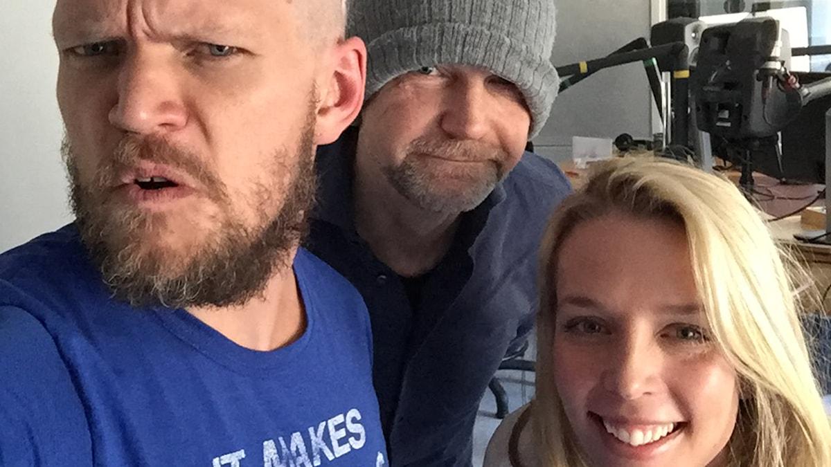 Henrik Torehammar, Tomas Ramberg och Annie Reuterskiöld. Foto: Sveriges Radio.