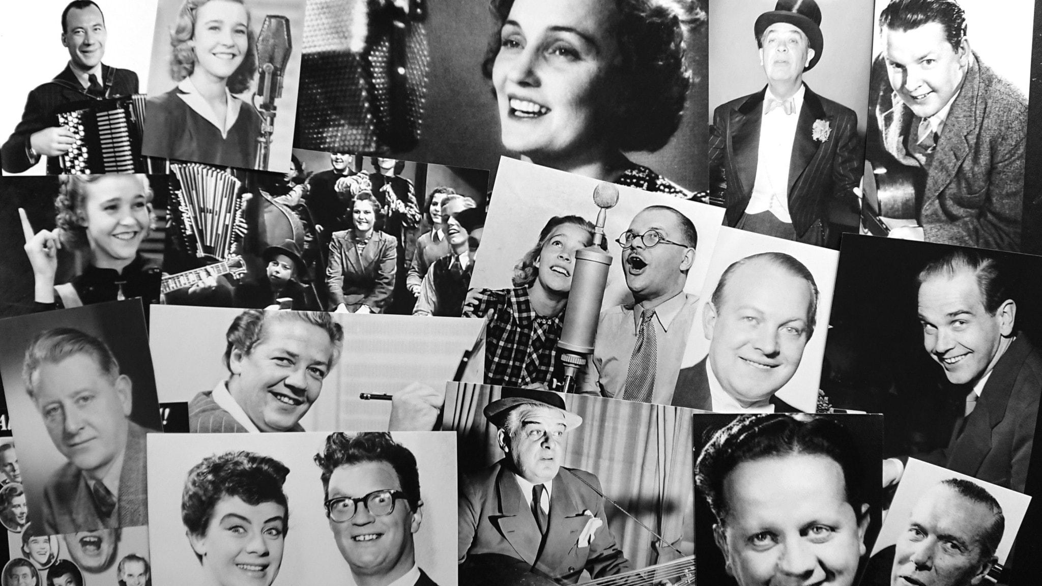 Bilden är ett collage av olika artister som var verksamma på 1940-talet.