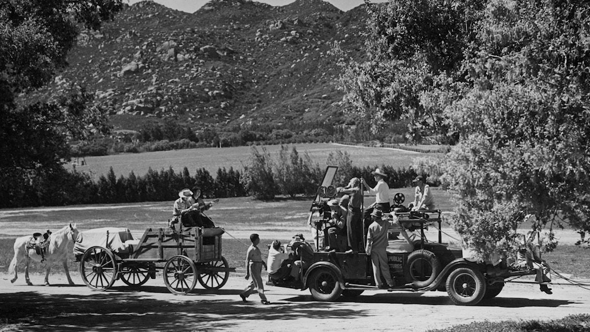 Produktion av vilda västernfilm på 30-talet. SVT Bild