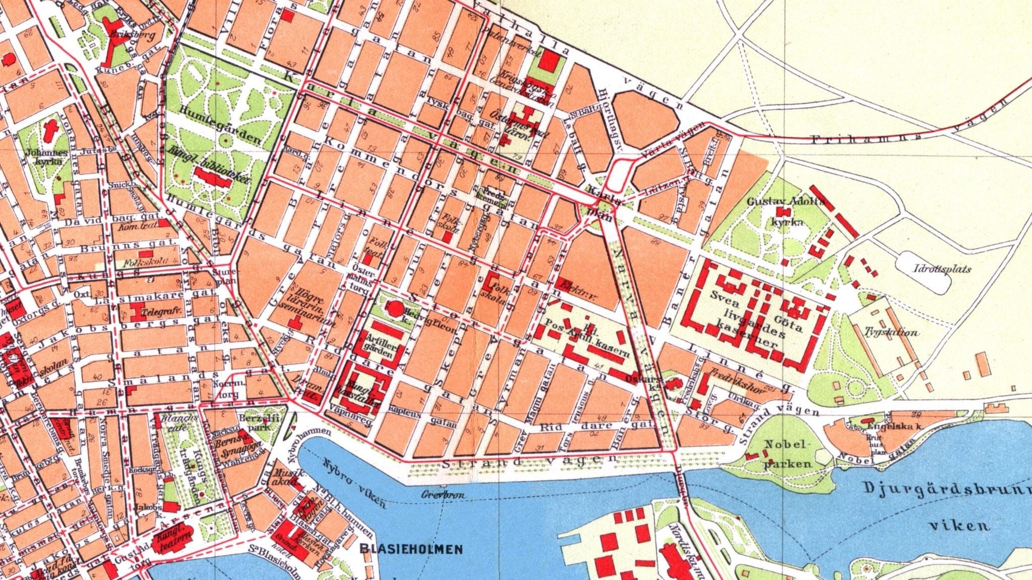 Bilden är en gammal karta över Östermalm.