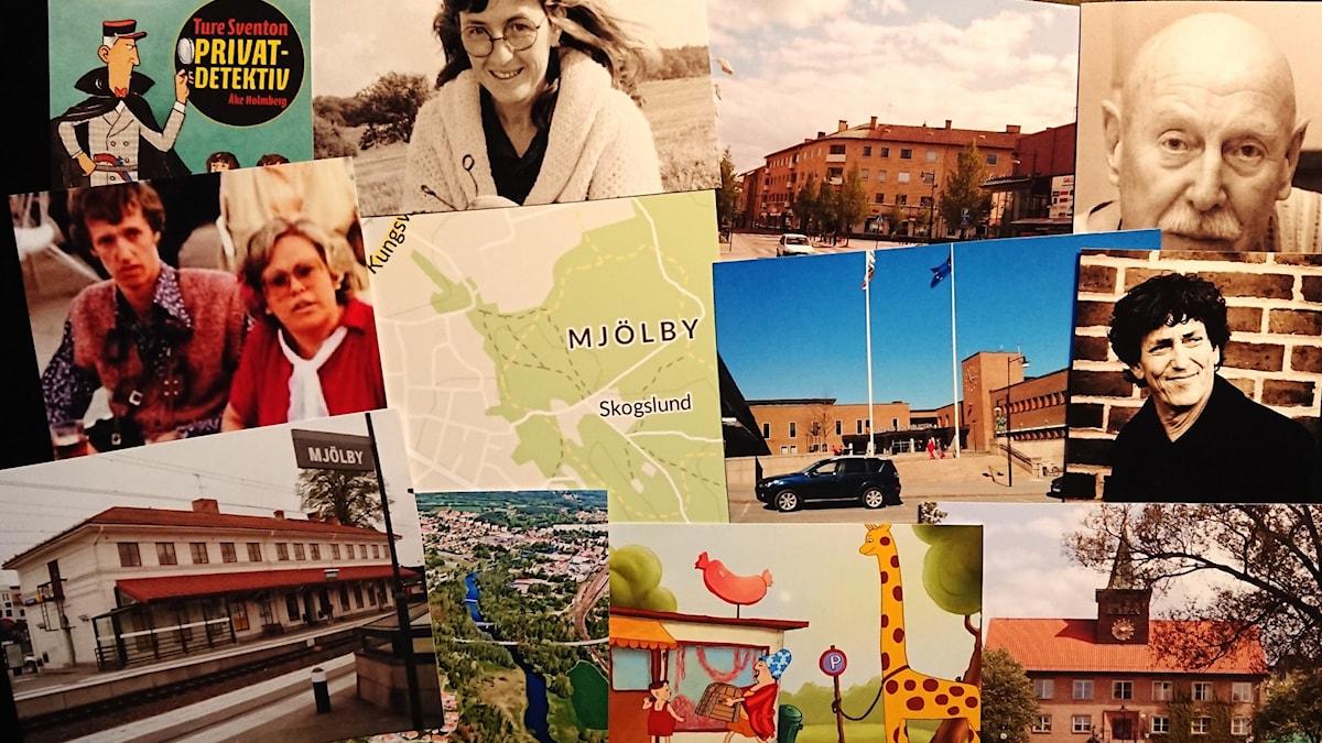 Kollage av bilder från staden Mjölby och personer som nämns i programmet.