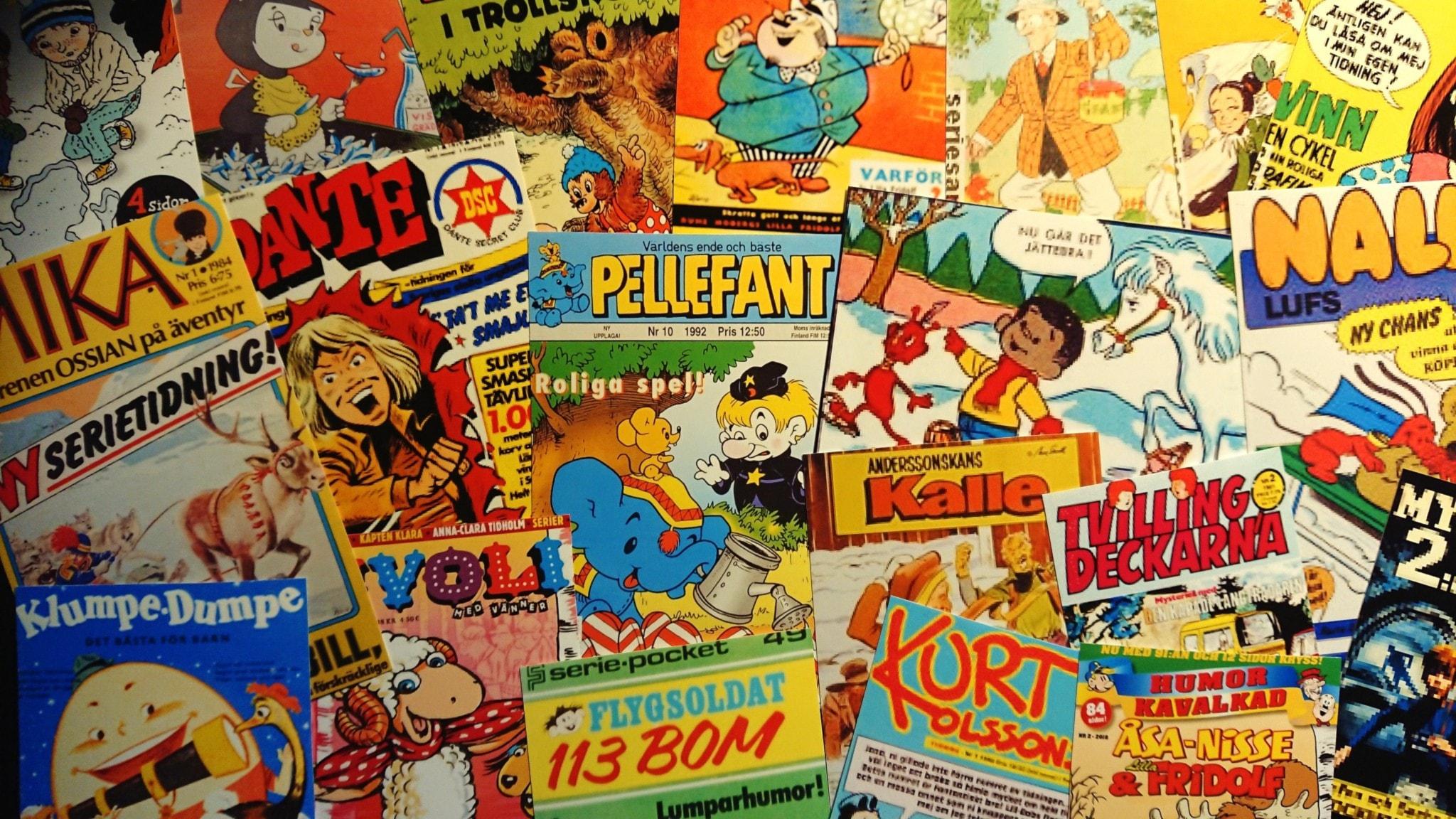 Bilden är ett collage av serietidningar som omnämns i programmet.