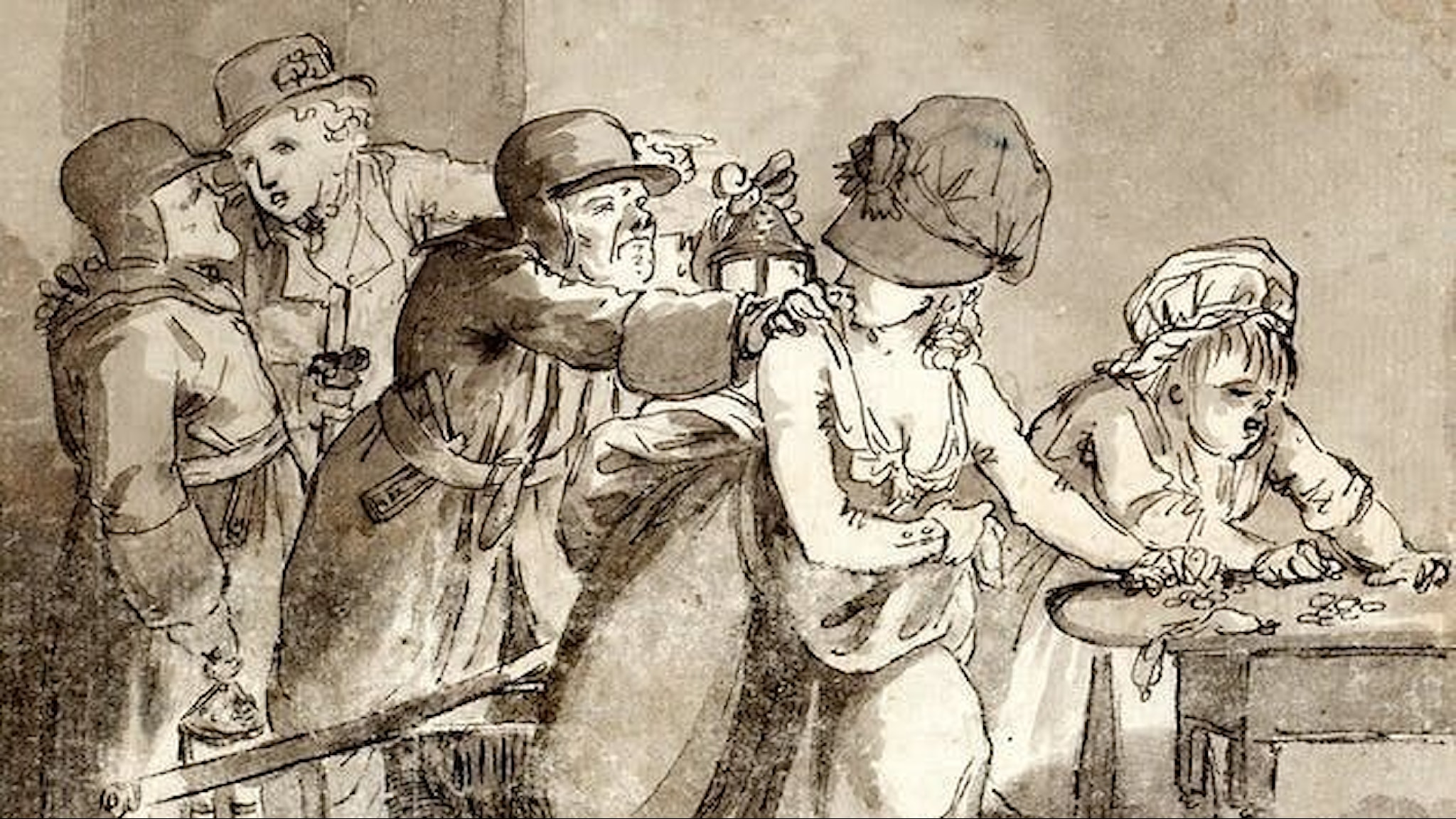Bilden är en teckning från 1700-talet som visar två nattlöperskor som arresteras.