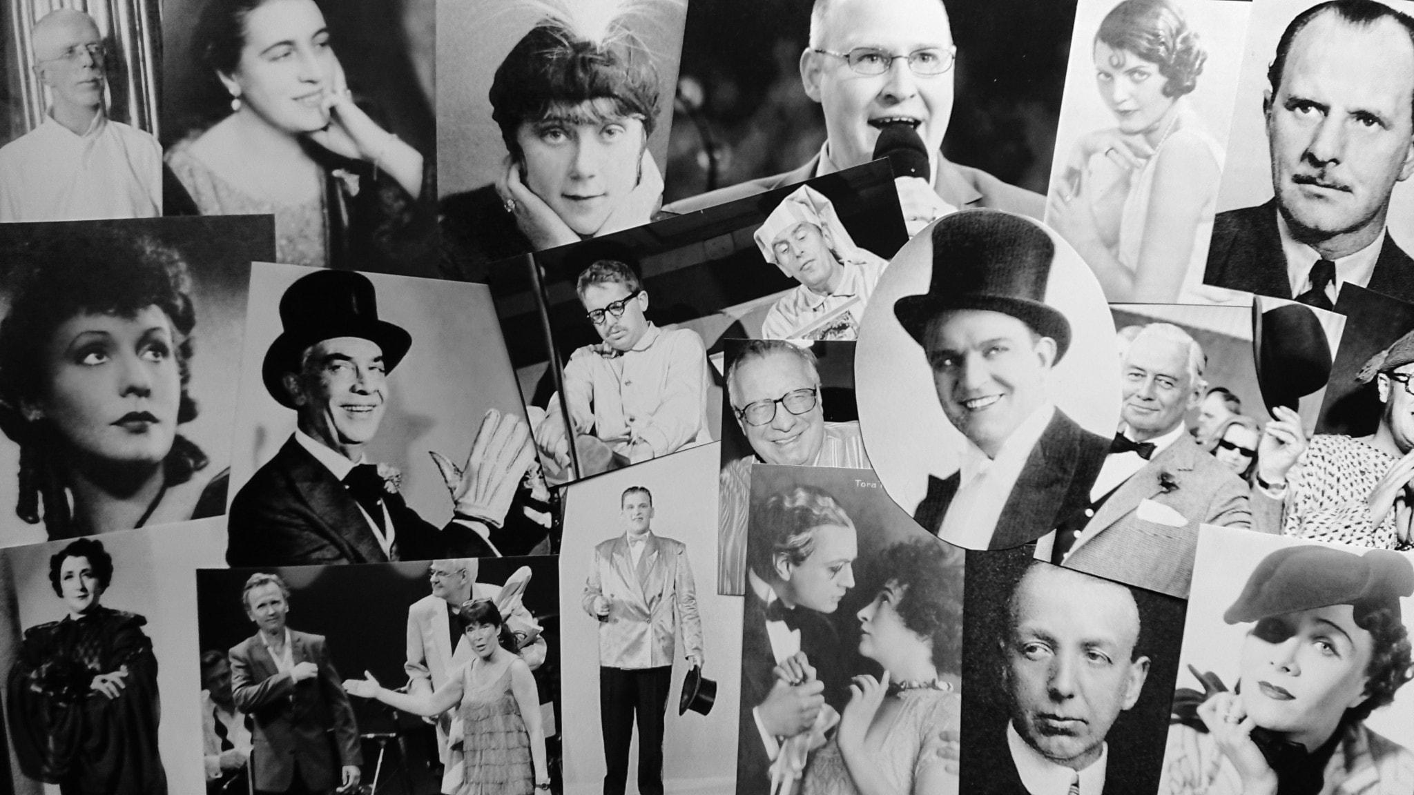 Bilden är ett collage av revyartister.