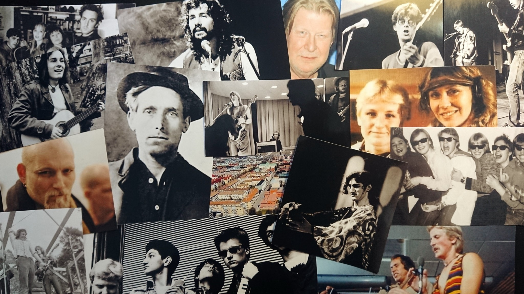 Bilden är ett kollage av olika artister och musikgrupper från Gävle.