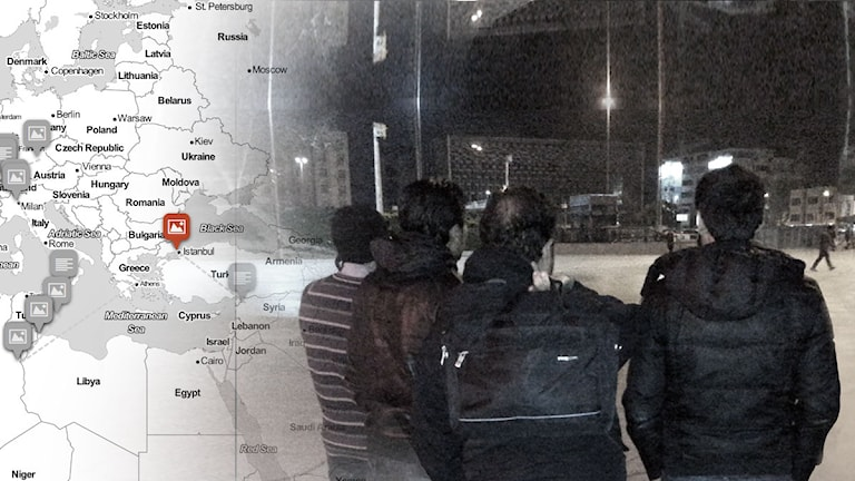 Kartbild där resa över Europa är markerad. Foto på fyra män med ryggen mot kameran, en mörk kväll. Foto: Sveriges Radio.