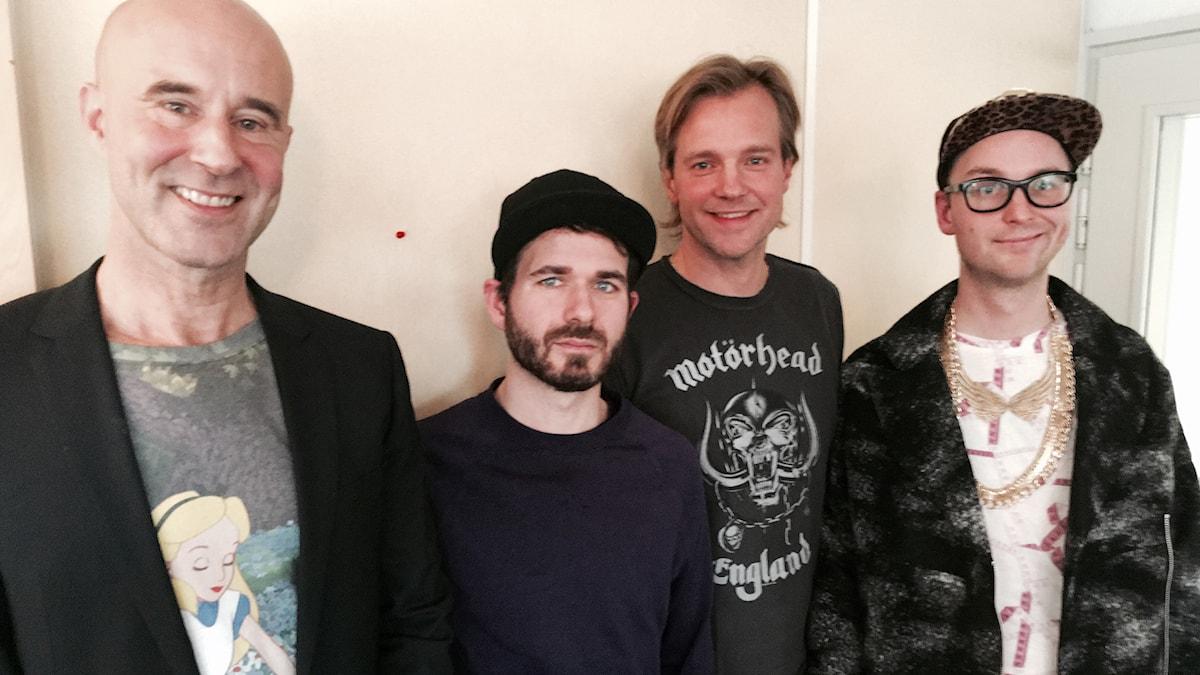 Mark Levengood, Simon Gärdenfors, Henrik Johnsson och Frej Larsson. Foto: SR.