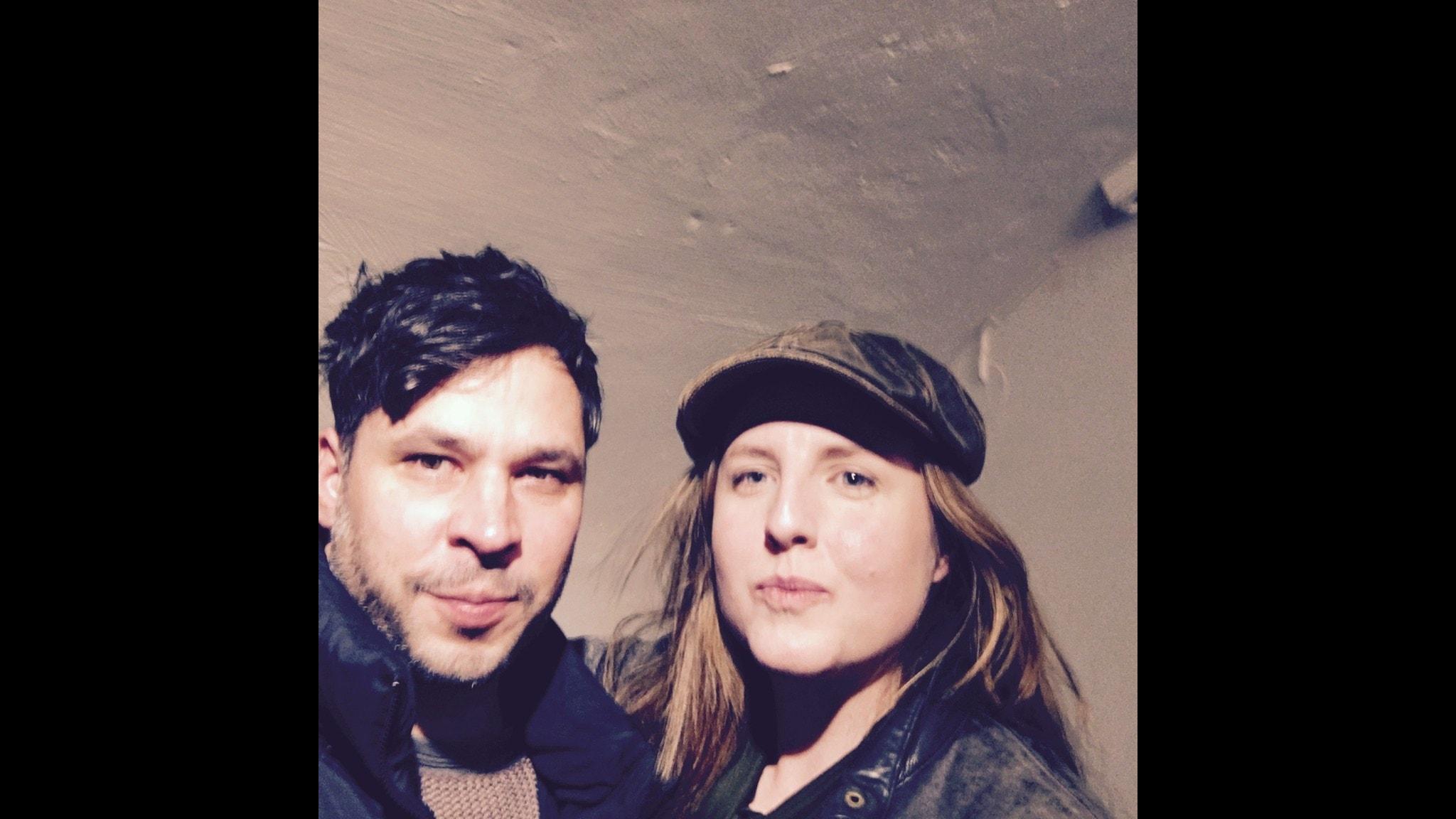 Selfie med Martin Wicklin (tv) Stina Stoor (th)