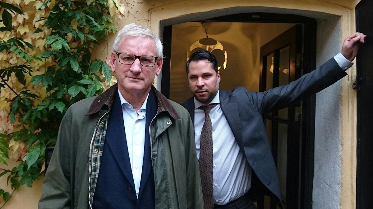 Carl Bildt (t v) och Martin Wicklin (t h)