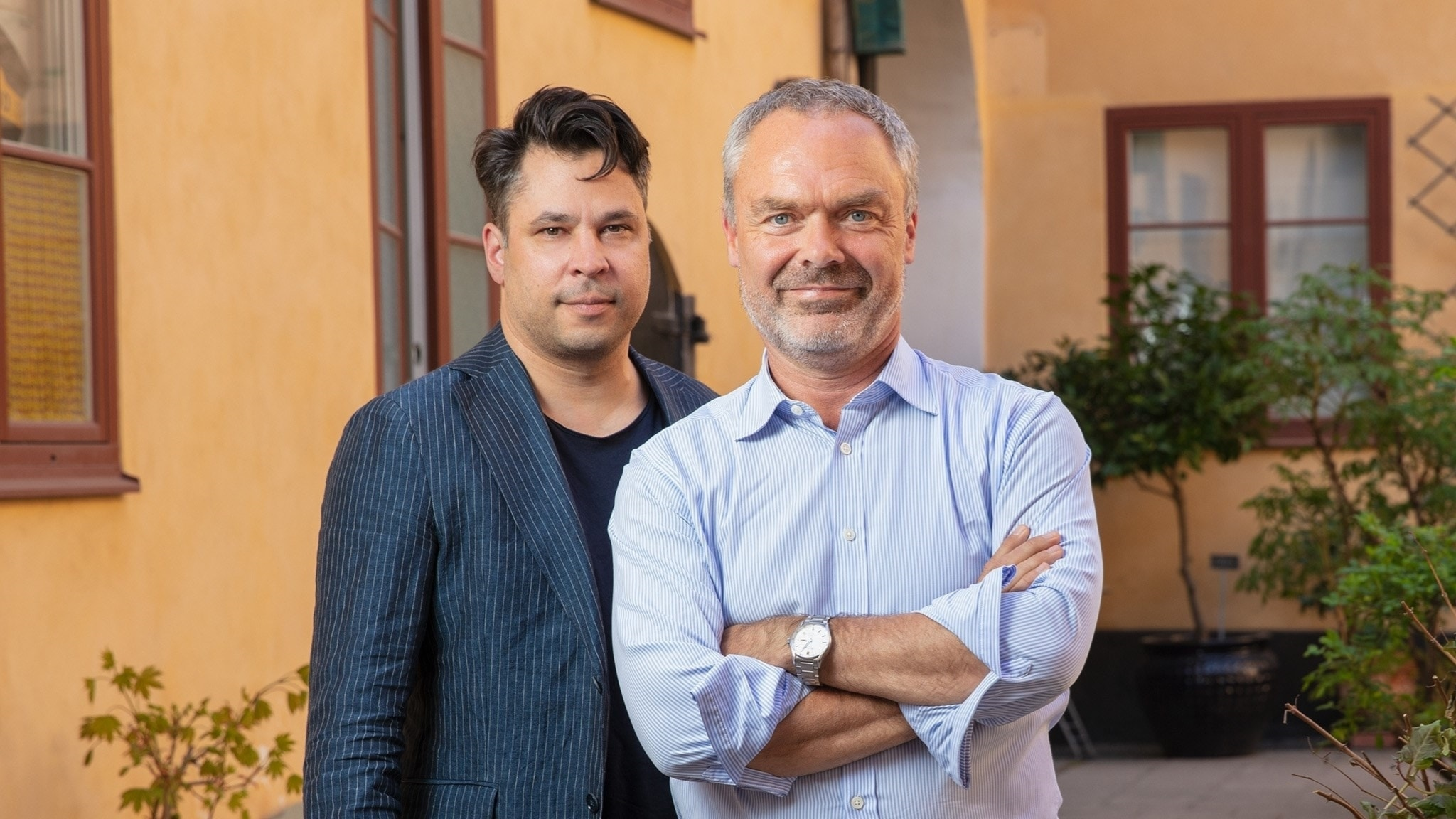 Jan Björklund, Liberalernas partiledare (t h) och Martin Wicklin, programledare Söndagsintervjun (t v).