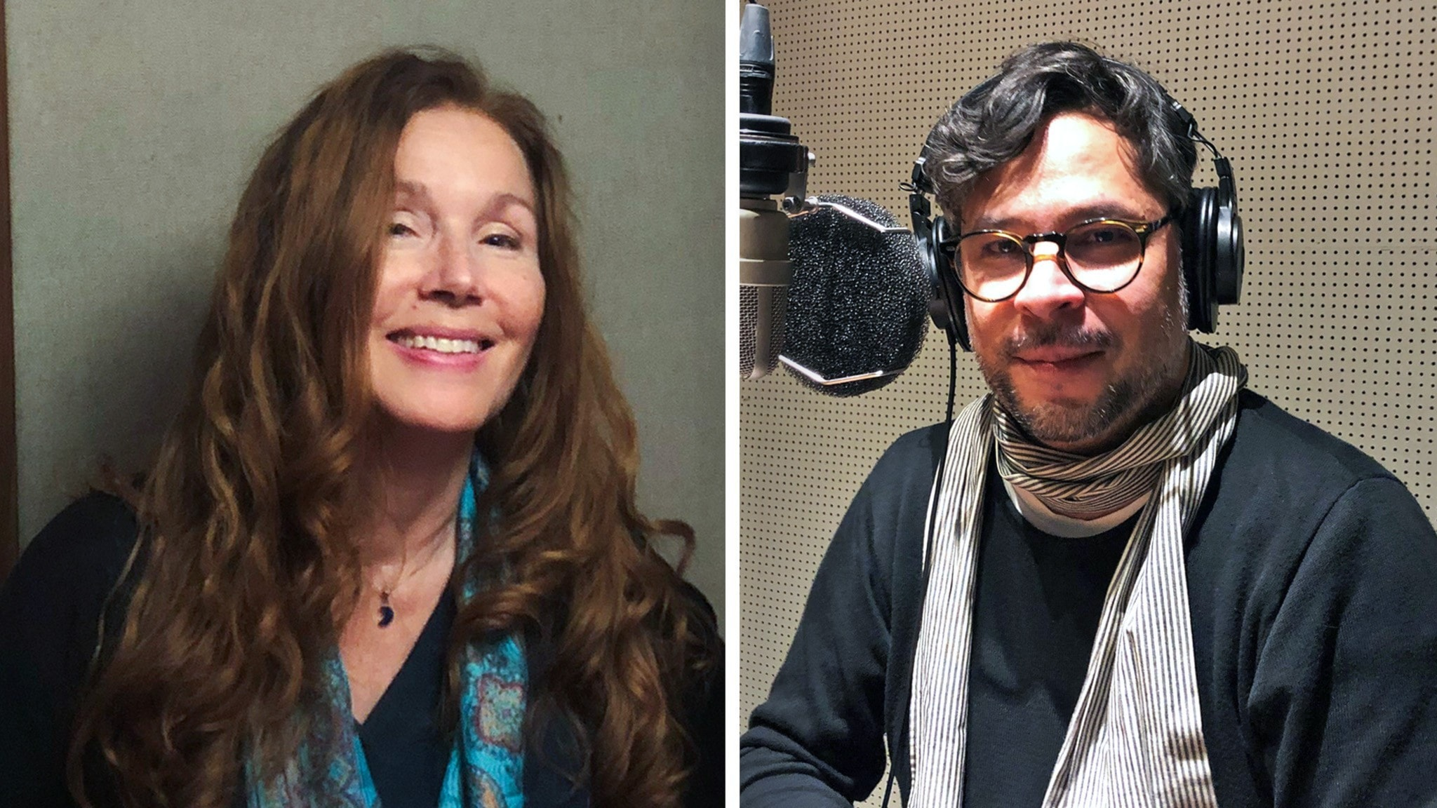 Susanne Aalto och Martin Wicklin fotograferade i varsin radiostudio