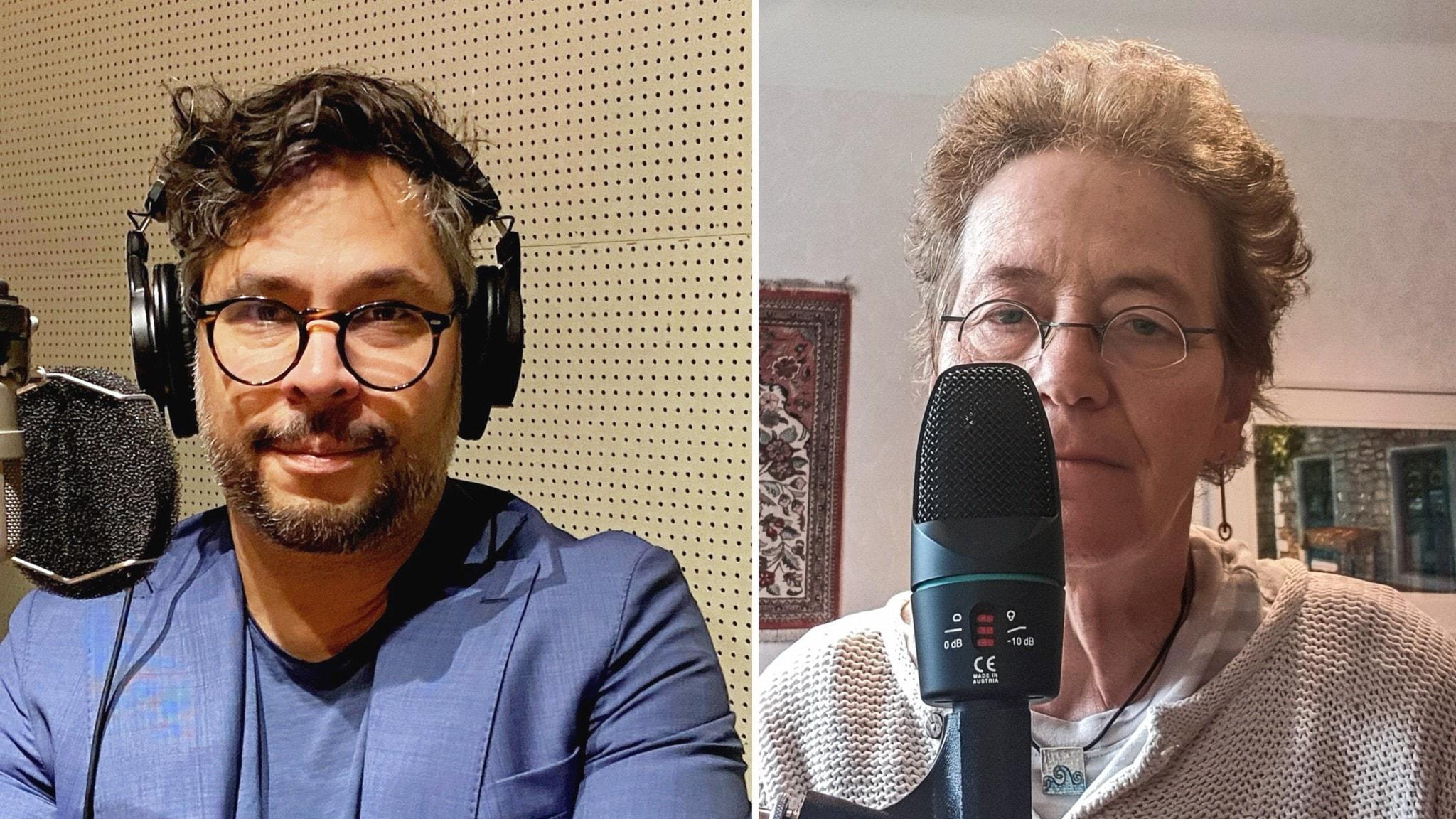 Bilden är ett montage av två foton tagna på olika platser. Martin Wicklin sitter vid en mikrofon och Lena Einhorn sitter vid en annan mikrofon.