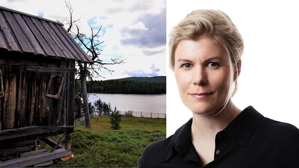 Tvådelad bild med stuga med utsikt över sjö och Marina Nilsson Malmström.