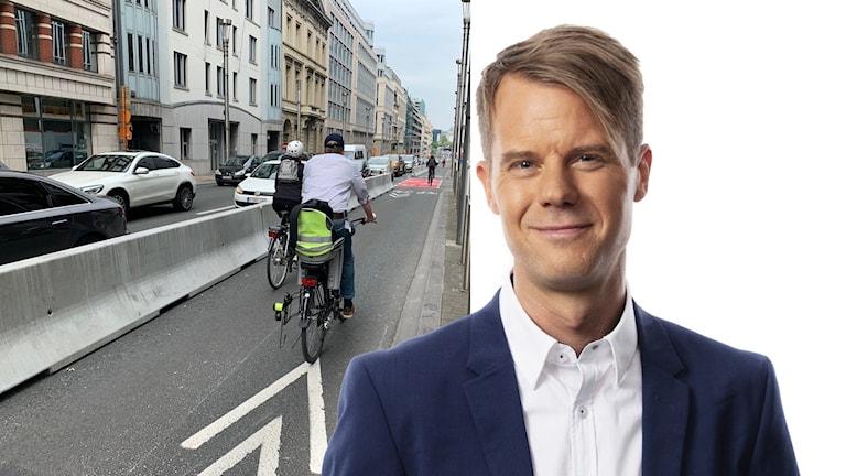 Personer som cyklar på Rue de la Loi och Andreas Liljeheden.