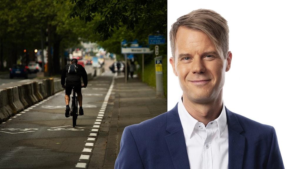Montage av en person som cyklar i Bryssel och en frilagd Andreas Liljeheden, Bryssekorrespondent.