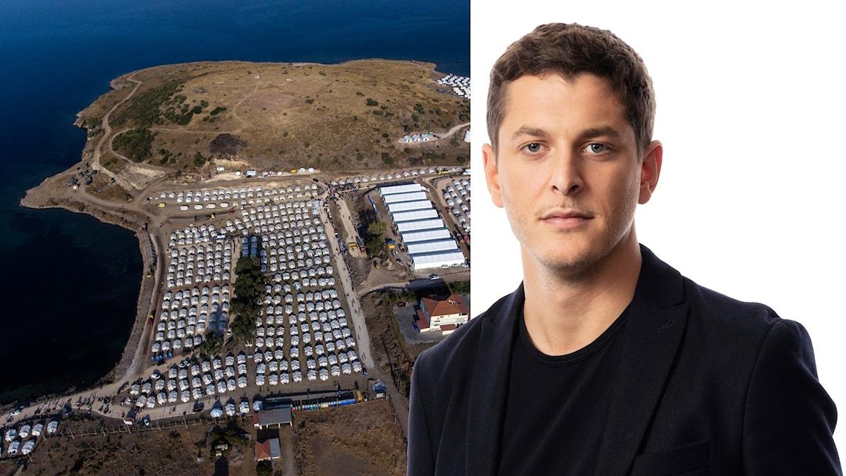 Montage med Sveriges Radios korrespondent   Filip Kotsambouikidis och flygbild av ön Lesbos.