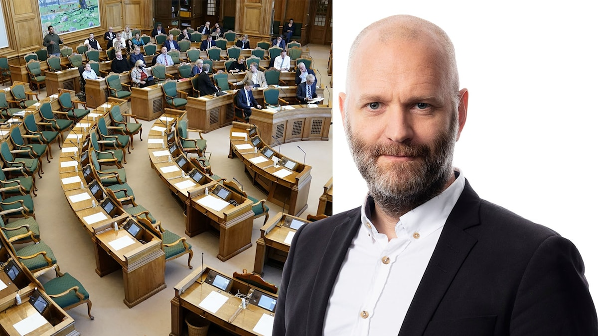 Montage med Ekots korrespondent David Rasmusson och det danska folketinget.