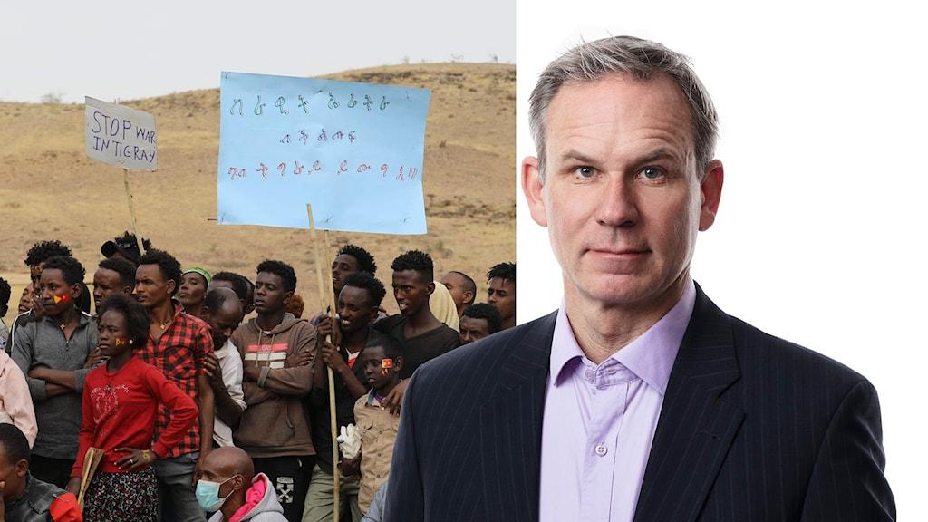 Montage med Sveriges radios korrespondent Richard Myrenberg och demonstranter med plakat.