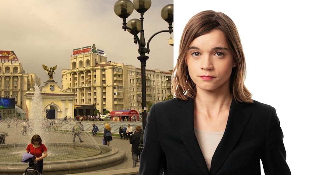 Montage av Ekots Östeuropakorrespondent Johanna Melén framför en fontän i Moskva