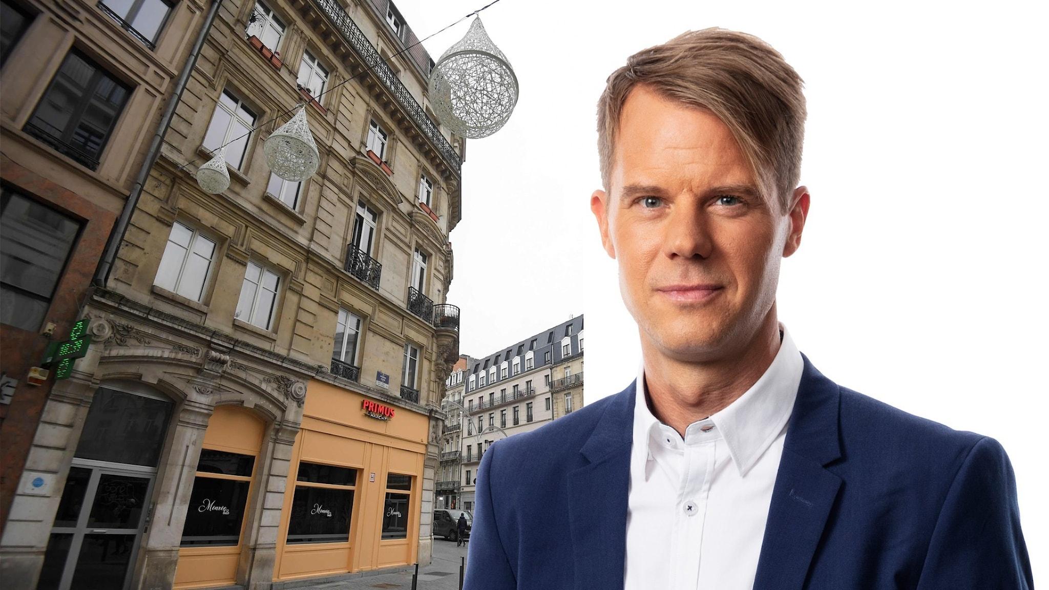 Montage med Ekots utrikeskorrespondent Andreas Liljeheden och klubben Monroe Bari Bryssel.
