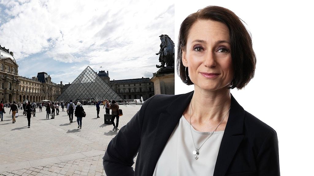 Bild på folk framför Louvren i paris.