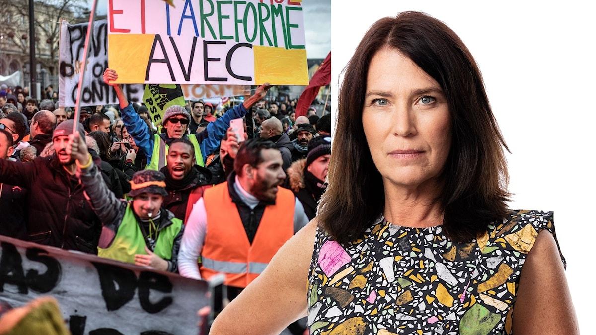 Protester under transportstrejken i december och Ekots korrespondent Margareta Svensson.