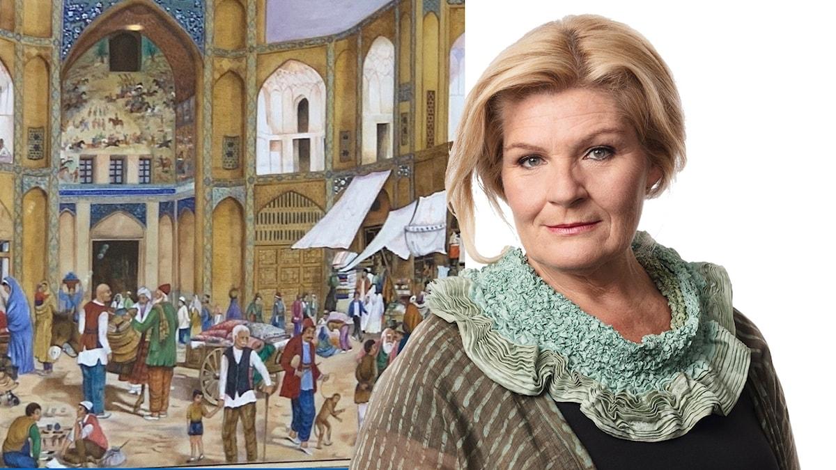 Cecilia Uddén och bild ur Tusen och en natt. Foto: Cecilia Uddén/ Mathias Ahlm/Sveriges Radio. Montage: Sveriges Radio.