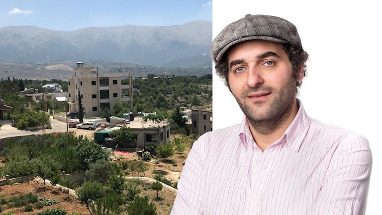 Kollage: Firas Jonblat tillsammans med sin hemby Batloun.