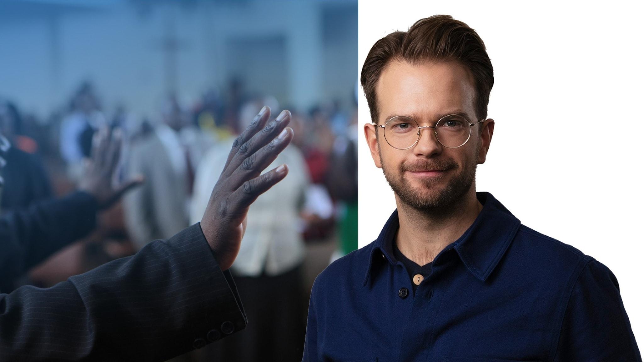 Split bild med Niklas Zachrisson och gudstjänstdeltagare i Zimbabwe