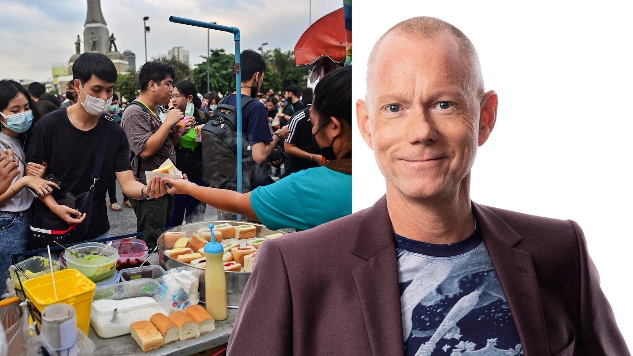 Montage med Ekots korrespondent Peder Gustafsson och matstånd bland demonstranter i Thailand