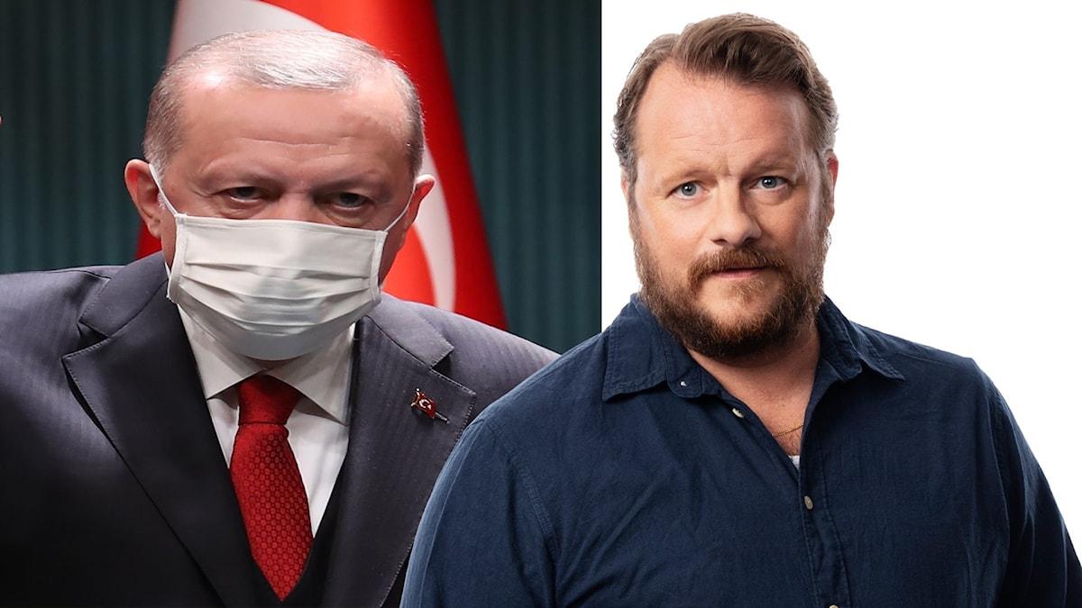Två män står upp en och en har på sig munskydd.
