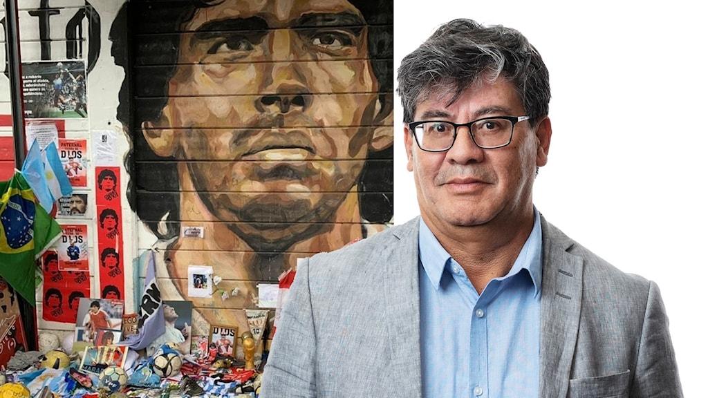 En minnesplats för den nyligen avlidne fotbollsspelaren Diego Maradona.