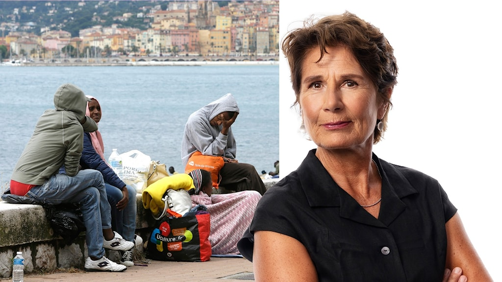 Montage med Ekots migrationskorrespondent Alice Petrén och migranter i Ventemiglia