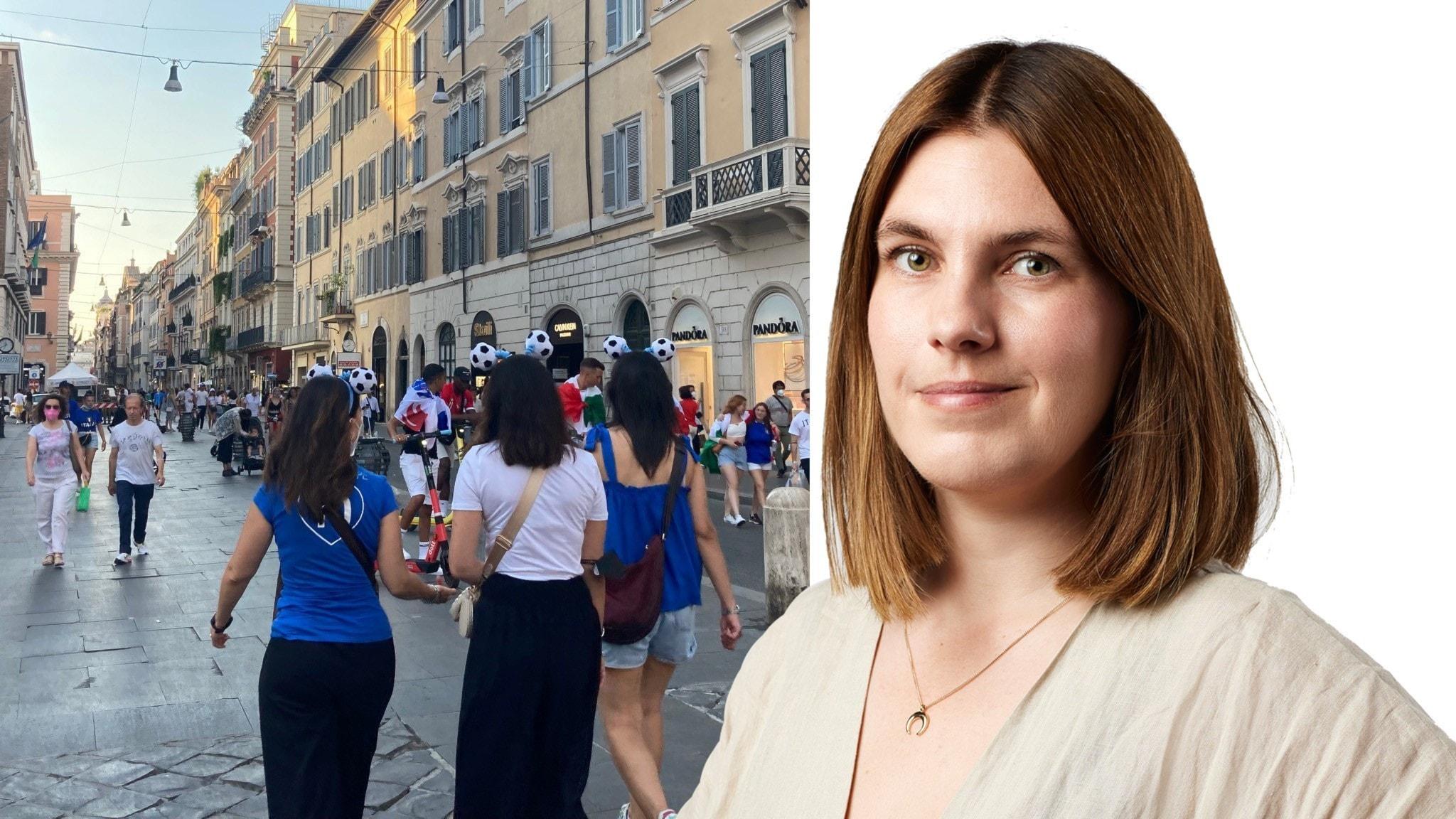 Folk längs gatorna i Rom