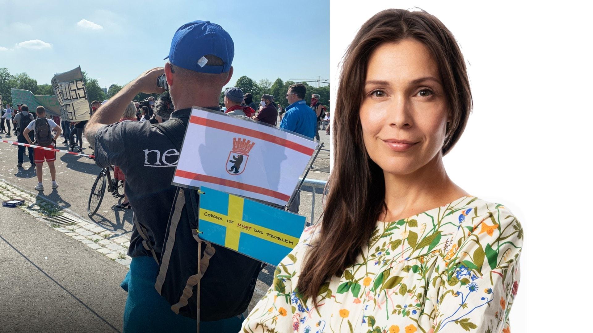 Svenska flaggan har blivit kontroversiell: Caroline Salzinger, Berlin