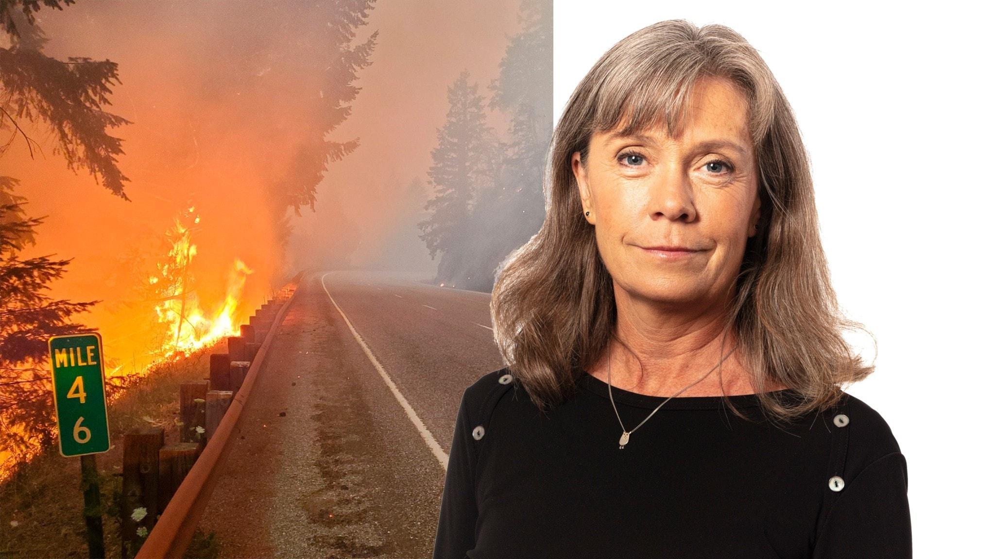 Tvådelad bild - en väg i USA där skogen brinner längs med sidan till vänster och Nina Benner till höger.