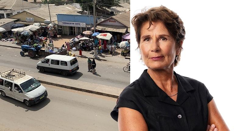 Gambia till vänster och migrationskorrespondent Alice Petrén till höger.