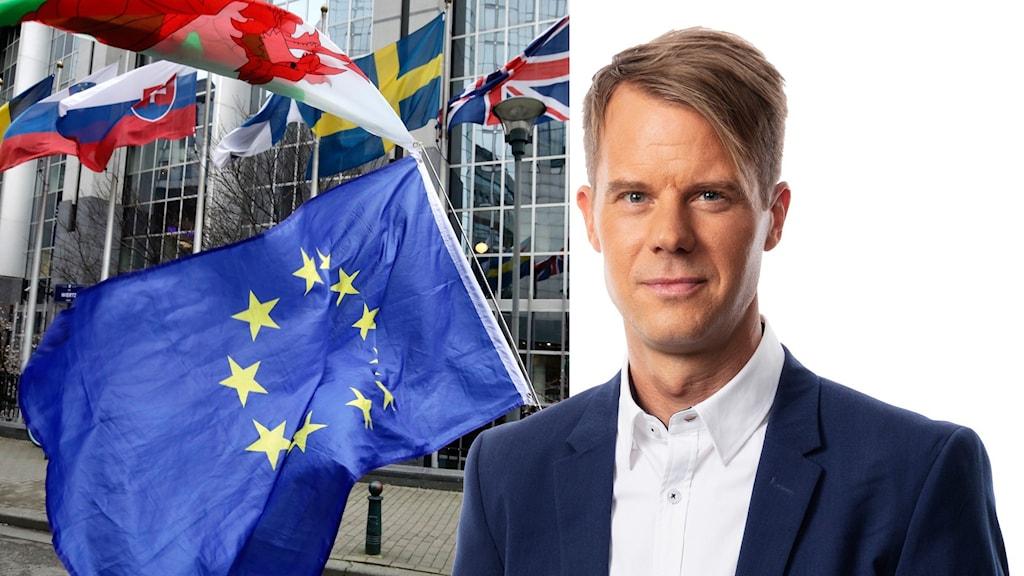 Flaggor och Andreas Liljeheden.