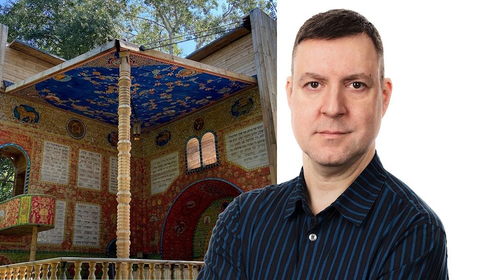 Tvådelad bild av minnesmonumentet vid Babij Jar och Fredrik Wadström.