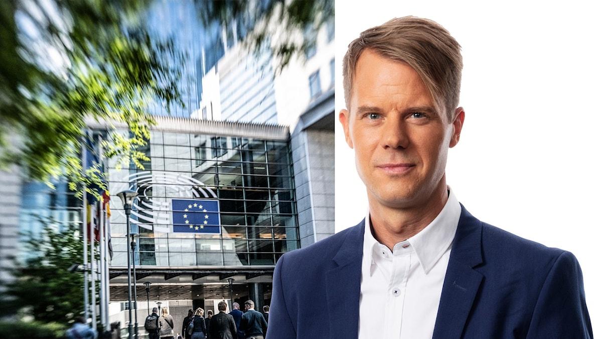 Montage med Andreas Liljeheden och utsidan av EU-parlamentet i Bryssel.