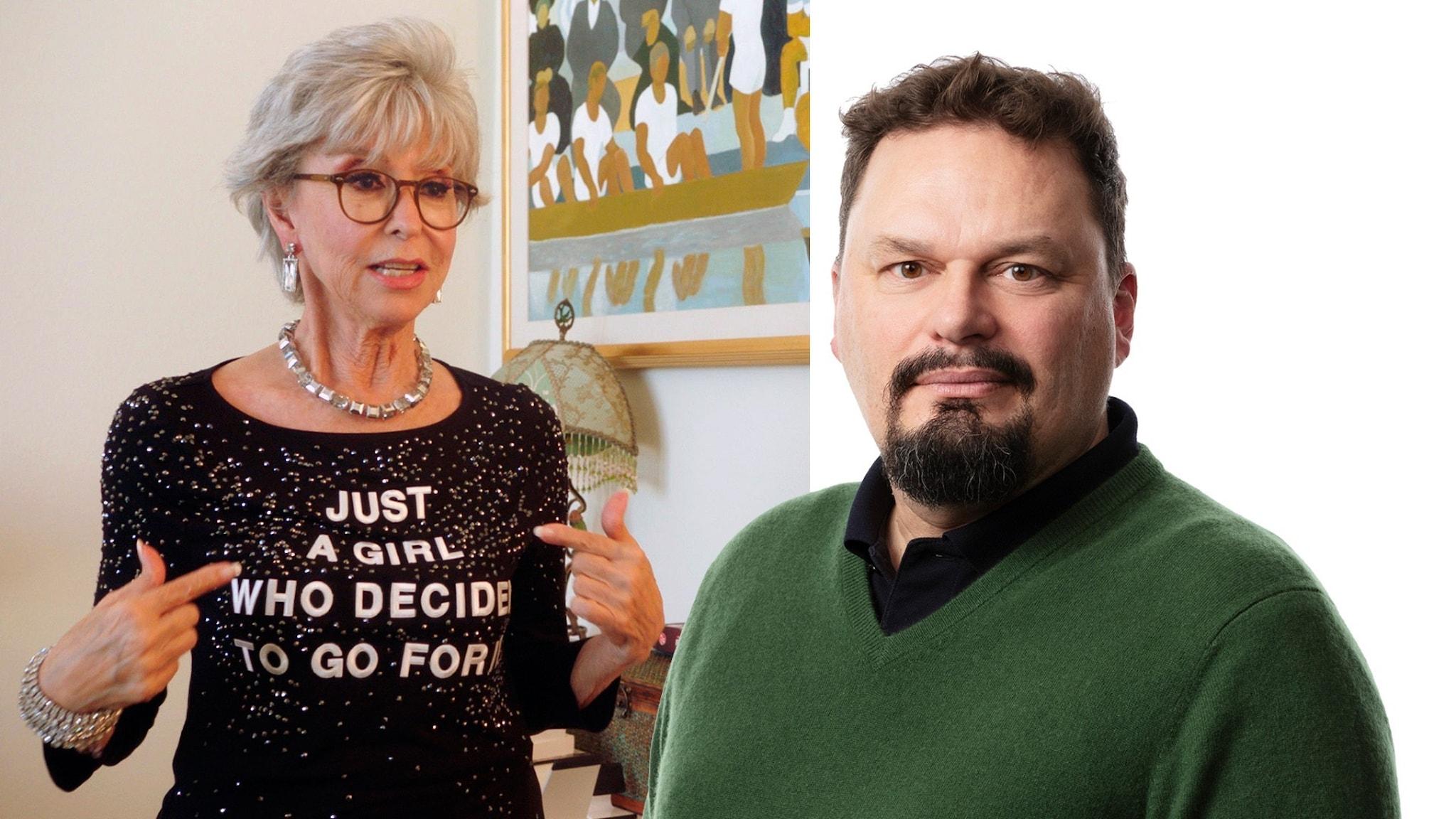 Tvådelad bild med en kvinna i glittrig tröja och grått hår till vänster (Rita Moreno) och en man i grön tröja och mustach till höger (Roger Wilson).