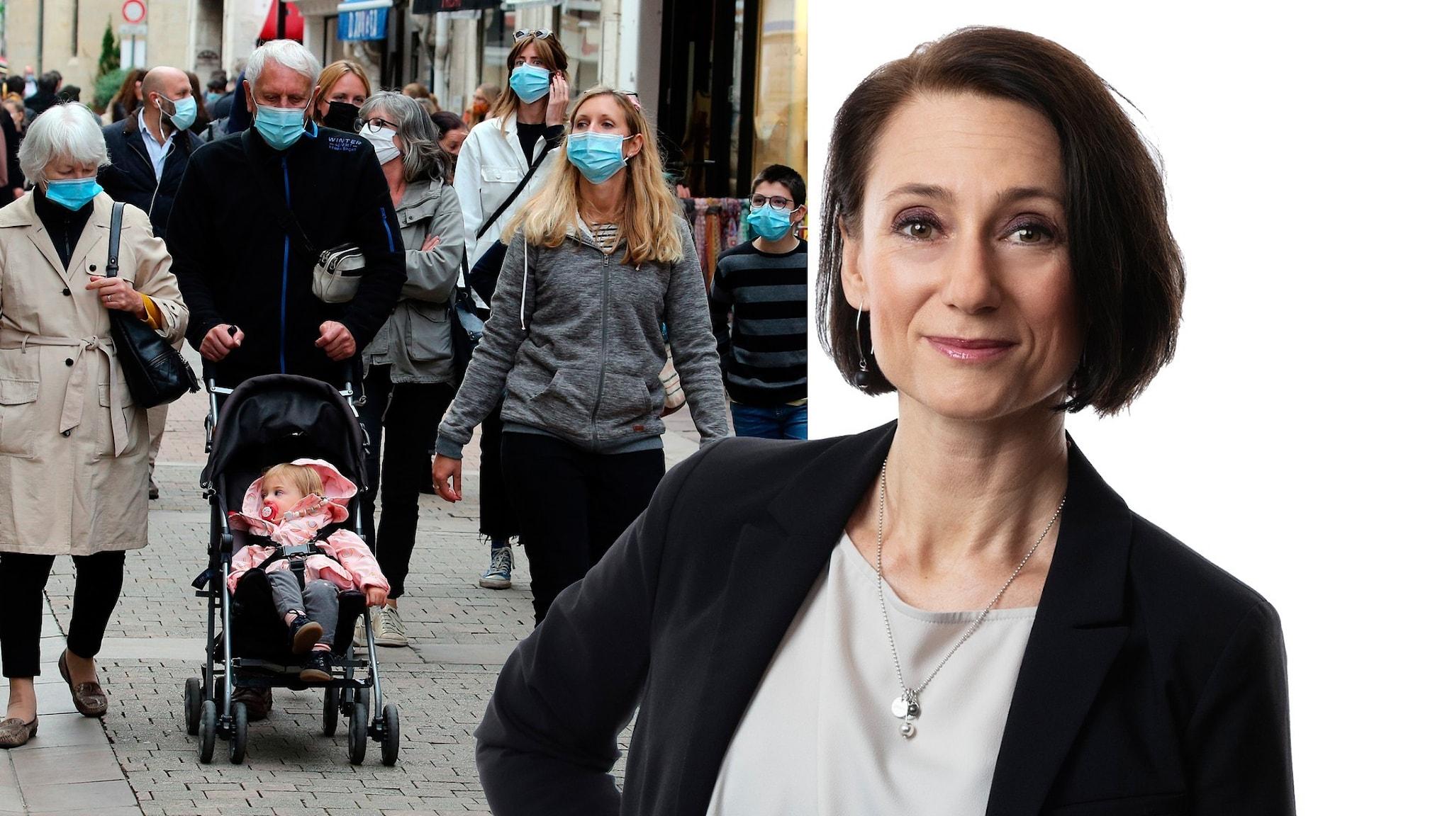 Montage med en familj i Frankrike där alla bär munskydd samt Ekots Frankrikekorrespondent Marie Nilssin Boij