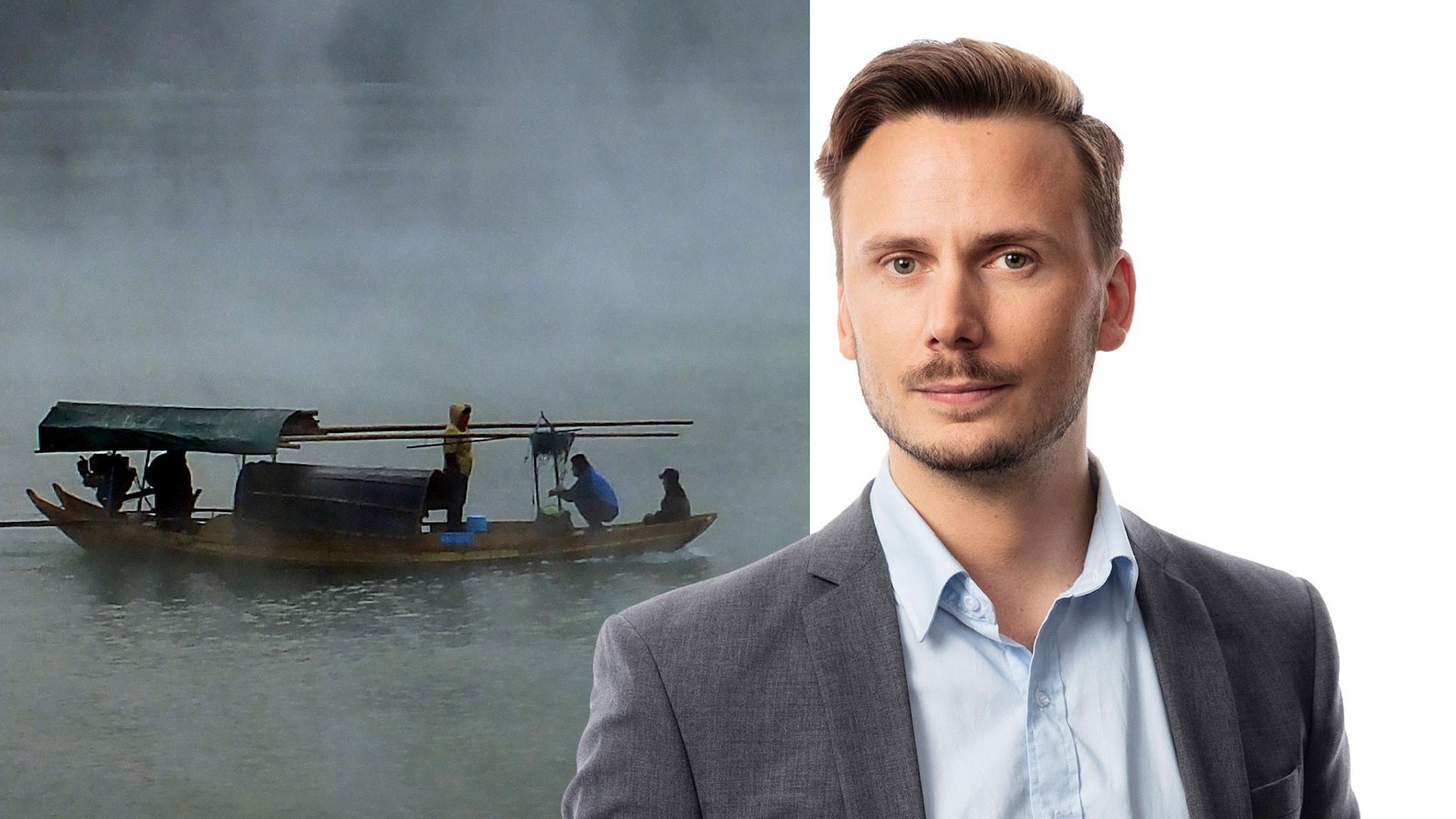 båt på flod, Björn Bjurberg.